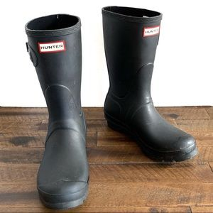 HUNTER original short matte black rainboots
